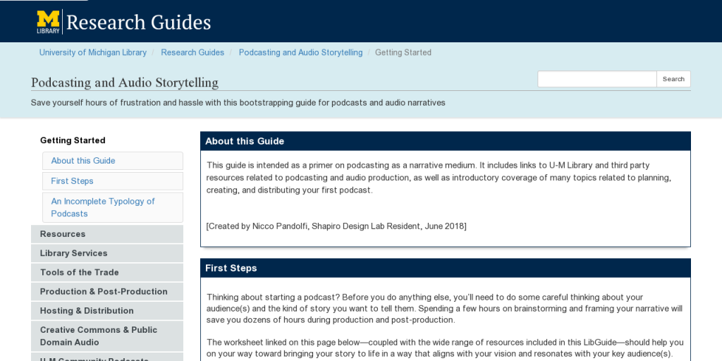 Research Guides: Podcasting and Audio Storytelling: Getting Started